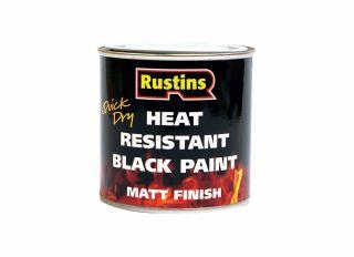 Rustins Heat Resistant Paint Black 250ml