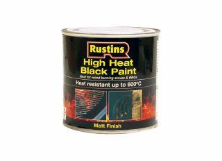 Rustins High Heat 600 Paint Black 250ml