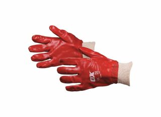 Ox Red PVC Knit Wrist Gloves Size 9 Large