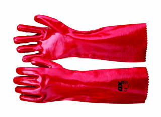 Ox Red PVC Gauntlets Size 10 XLarge