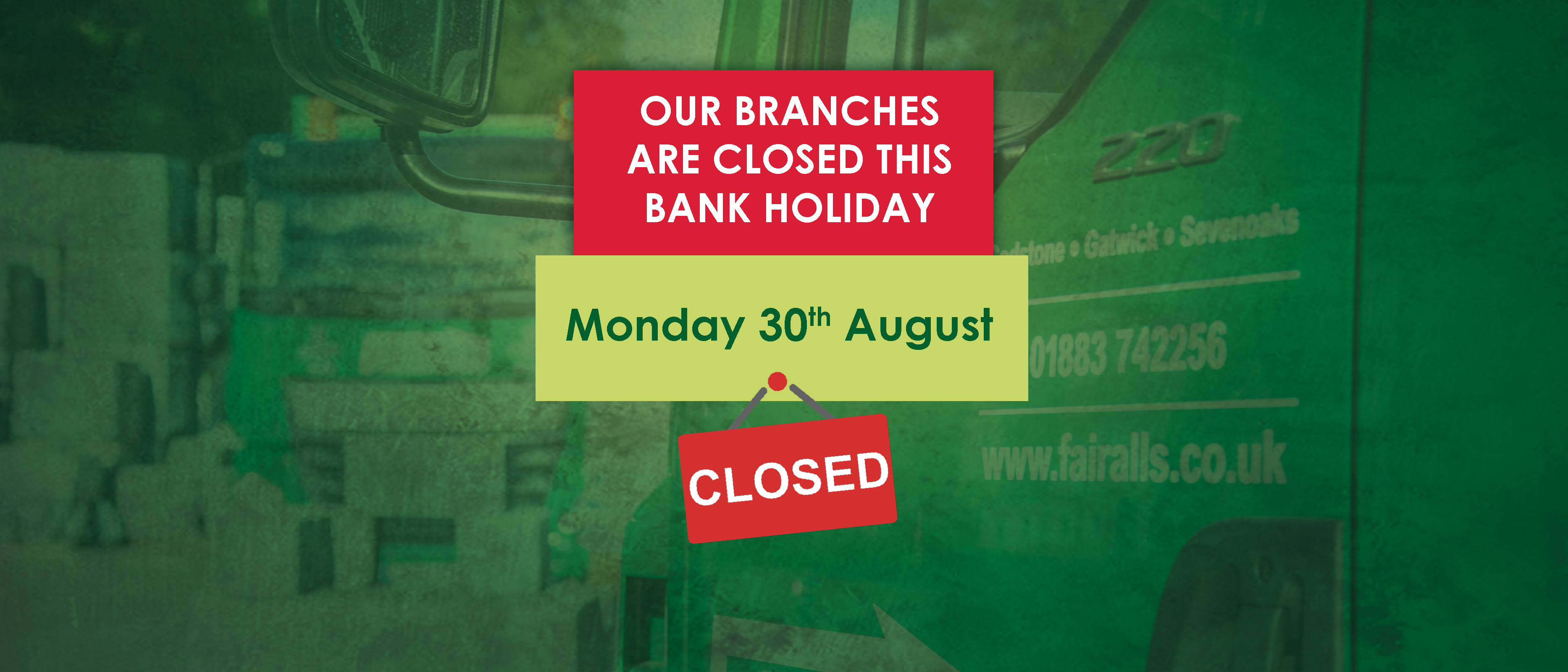 We're Closed on Bank Holiday Monday
